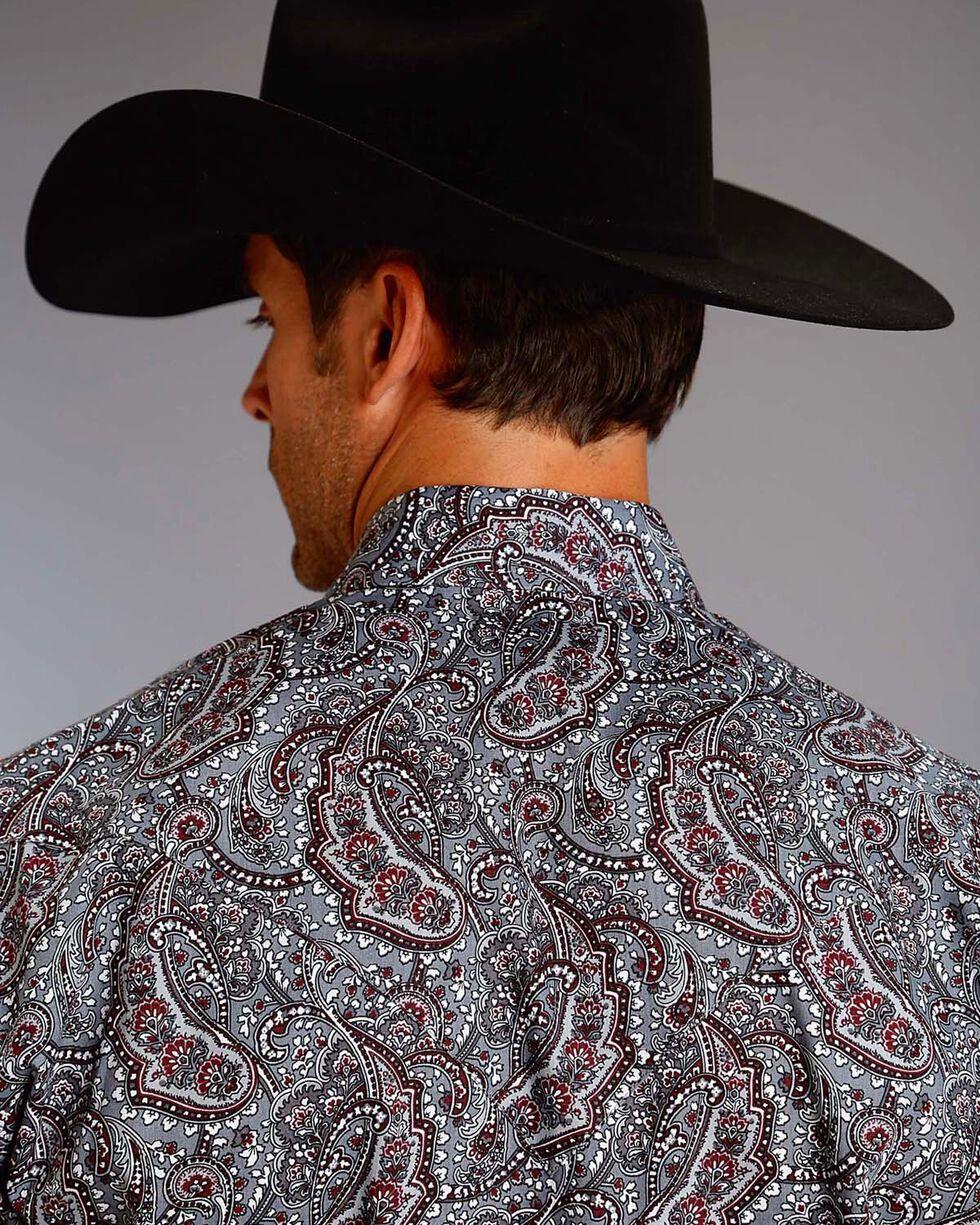 Stetson Men's Paisley Long Sleeve Shirt, Grey, hi-res
