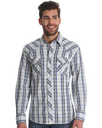 Wrangler Men's Blue/White Plaid Fashion Long Sleeve Snap Shirt, , hi-res