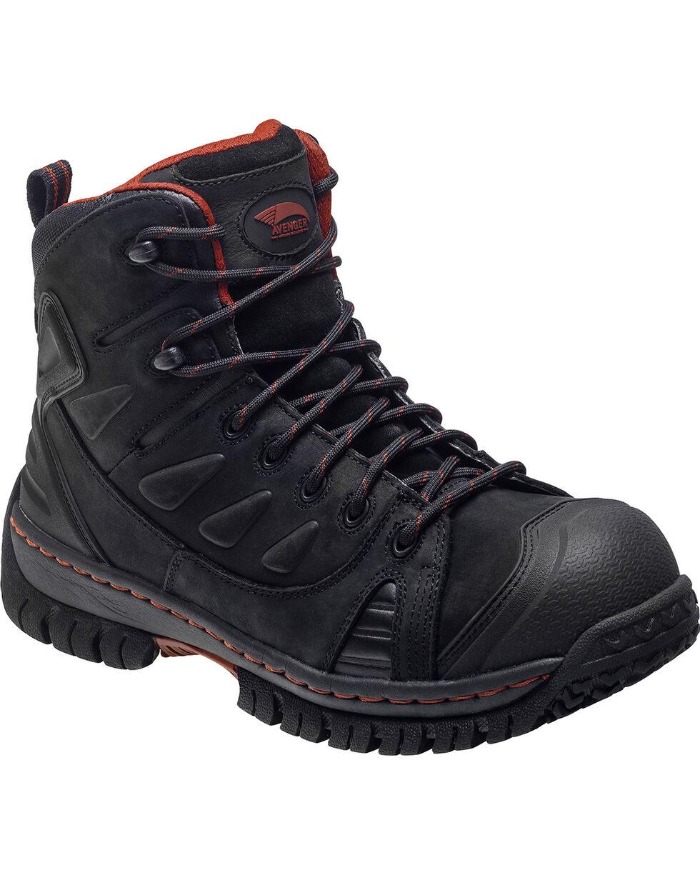 "Avenger Women's 6"" Lace Up Steel Toe Work Boots, Black, hi-res"
