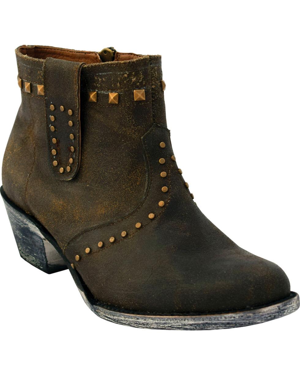 Ferrini Women's Dark Chocolate Studded Short Western Boots - Round Toe, Chocolate, hi-res