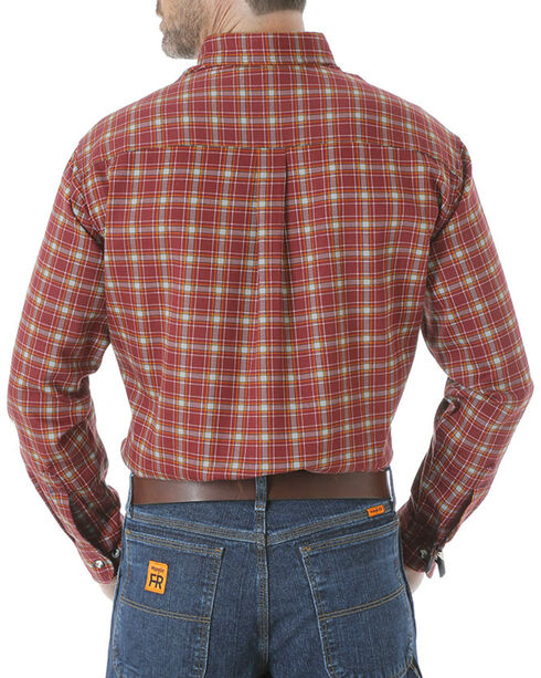 Wrangler Men's Flame Resistant Long Sleeve Plaid Work Shirt, Burgundy, hi-res