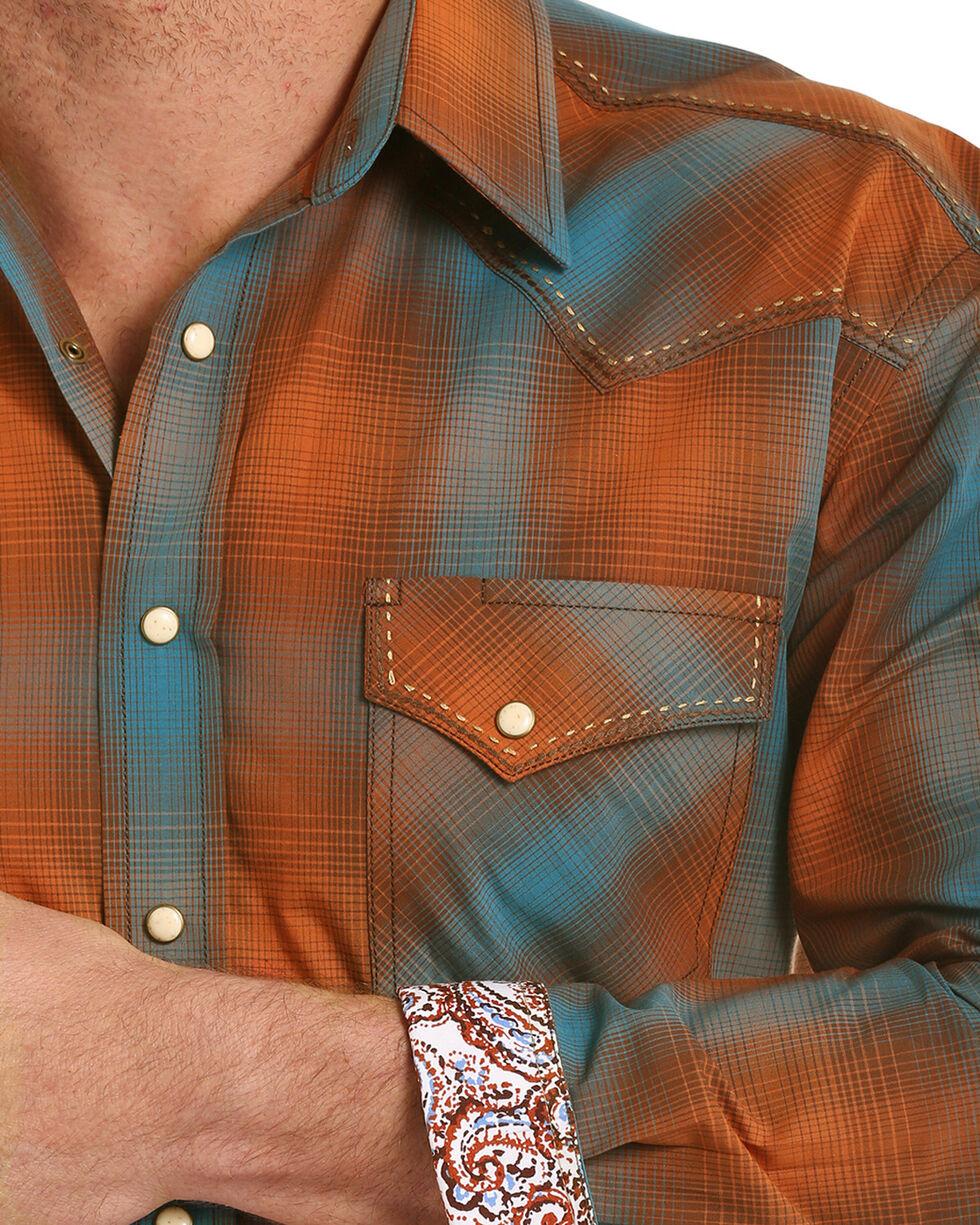Rough Stock by Panhandle Men's Antique Ombre Plaid Long Sleeve Shirt, Orange, hi-res