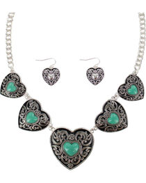 Shyanne® Women's Heart Concho Jewelry Set, , hi-res