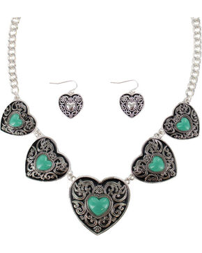 Shyanne® Women's Heart Concho Jewelry Set, Silver, hi-res