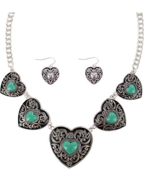 Shyanne® Women's Heart Concho Jewelry Set, Silver, hi-res