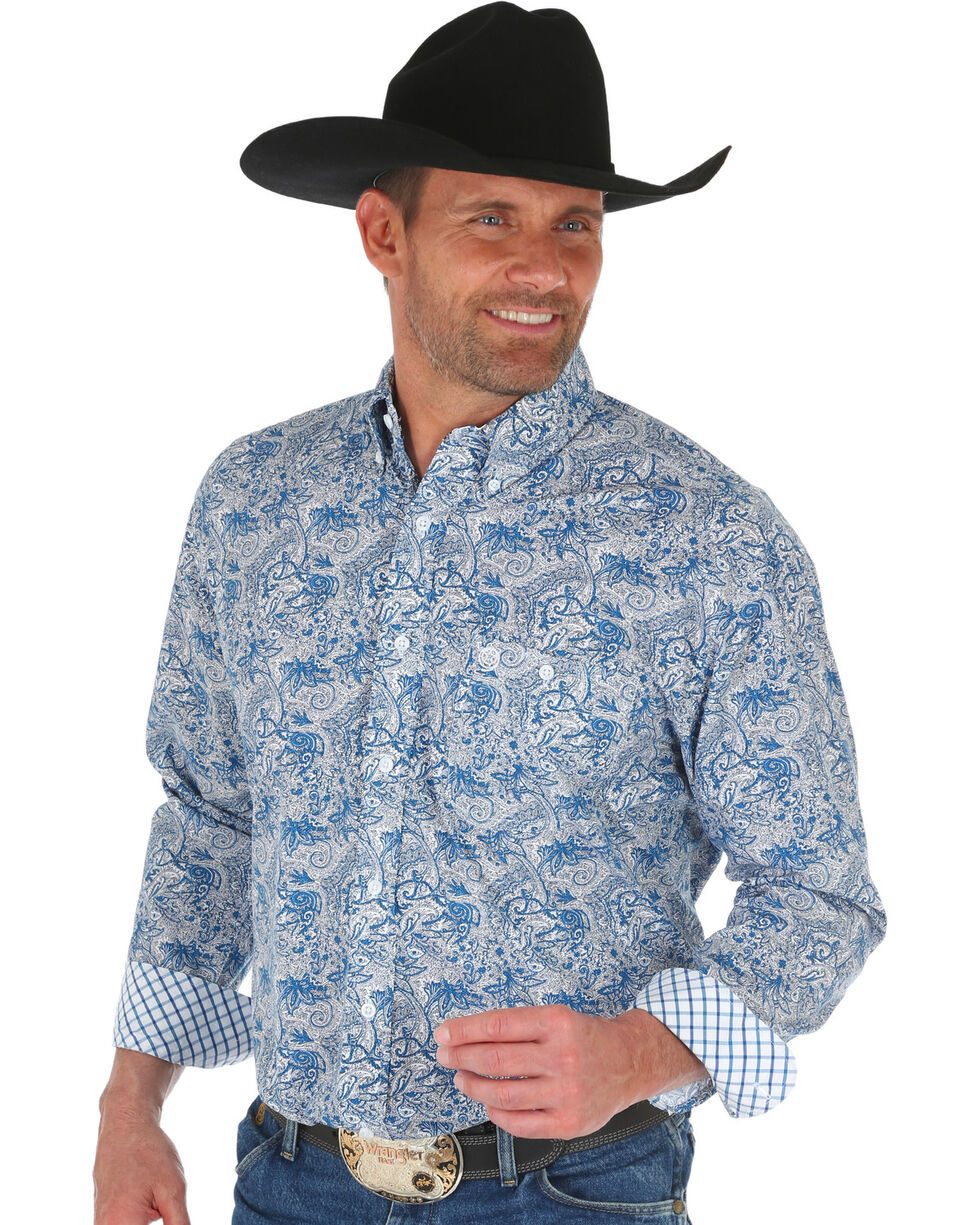 Wrangler George Strait Men's Blue Floral Print Shirt , Dark Blue, hi-res