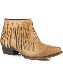 Roper Women's Tan Burnished Leather Fringe Western Boots - Snip Toe, , hi-res