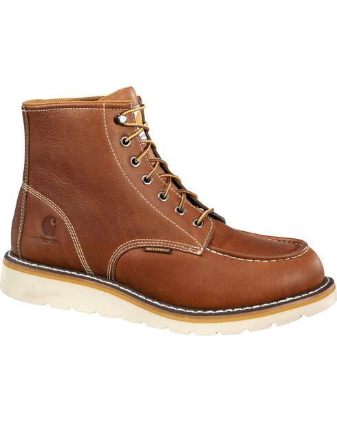 "Carhartt Men's 6"" Tan Waterproof Wedge Boots - Moc Toe, Tan, hi-res"