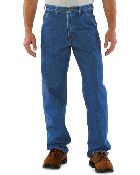 Carhartt Men's Signature Denim Work Dungarees, Dark Stone, hi-res