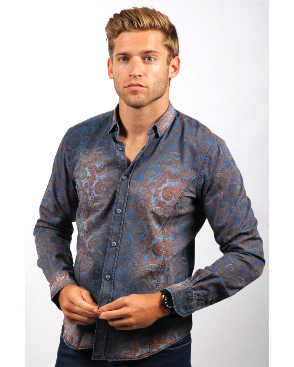 Eight X Men's Navy Paisley Print Denim Shirt , Navy, hi-res