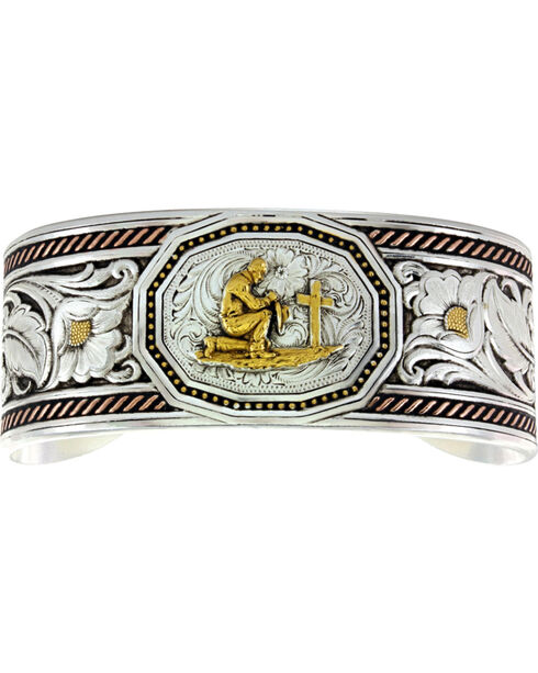 Montana Silversmiths Tri-Color Wide LeatherCut Portrait Cuff Bracelet with Praying Cowboy, Silver, hi-res