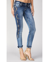 Miss Me Women's Side Embroidery Cuff Ankle Jeans, , hi-res