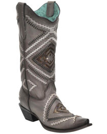 Corral Women's Woven Diamond Inlay Boots - Snip Toe , , hi-res