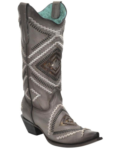 Corral Women's Woven Diamond Inlay Boots - Snip Toe , Black, hi-res