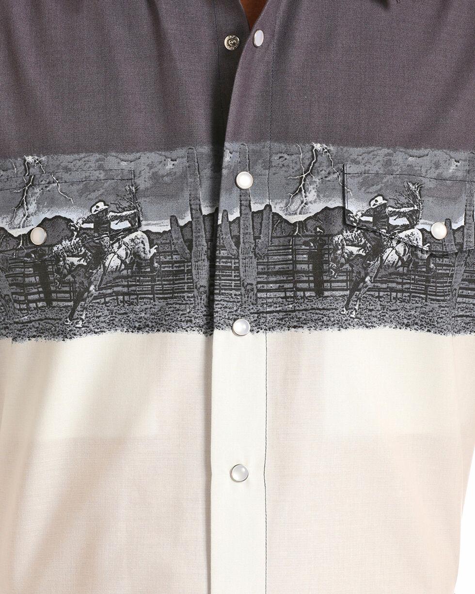 Panhandle Boys' Scenic Border Long Sleeve Snap Shirt, White, hi-res