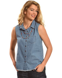 Derek Heart Women's Sleeveless Denim Button Down Shirt - Plus Size, , hi-res