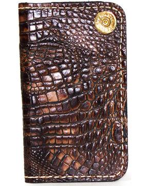 SouthLife Supply Men's Jackson Chocolate Croc Embossed Multi Pocket Wallet, Chocolate, hi-res