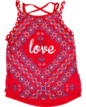 Ransom Girls' Bandana Tank Top , Red, hi-res