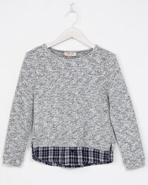 Miss Me Girls' Grey with Plaid Hem Sweater, , hi-res