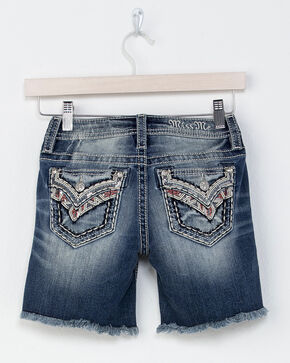 Miss Me Girls' Indigo Sparks Fly Mid-Rise Shorts, Indigo, hi-res