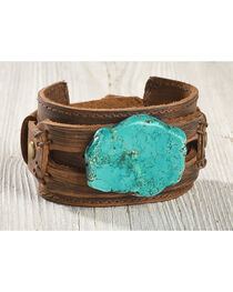 Jewelry Junkie Women's Chunky Turquoise Leather Cuff , , hi-res
