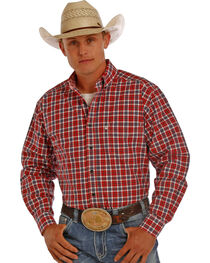 Tuf Cooper Men's Red and Grey Plaid Performance Long Sleeve Shirt , , hi-res