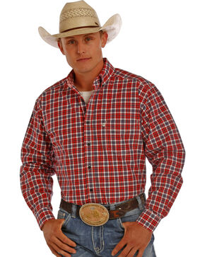 Tuf Cooper Men's Red and Grey Plaid Performance Long Sleeve Shirt , Red, hi-res