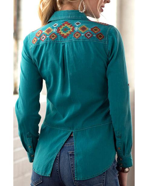 Ryan Michael Women's Embroidered Split Back Shirt, Med Blue, hi-res