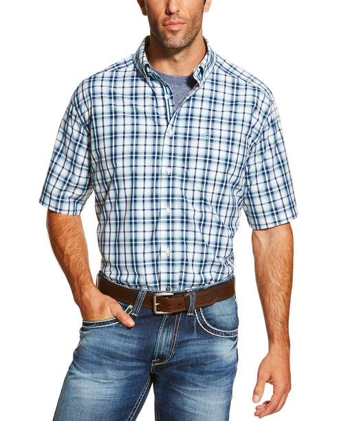 Ariat Men's Blue Nawton Short Sleeve Shirt , Navy, hi-res
