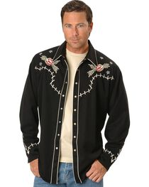 Scully Men's Skeleton Embroidered Long Sleeve Shirt, , hi-res