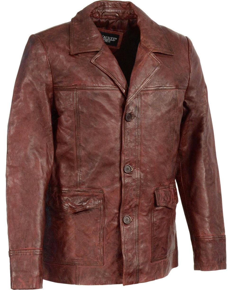 Milwaukee Leather Men's Leather Car Coat Jacket - Big 4X , , hi-res