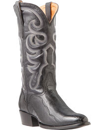 El Dorado Men's Ostrich Leg Black Western Boots - Medium Toe, , hi-res