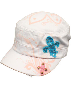M&F Women's Rhinestone Fleur De Lis Military Hat, White, hi-res