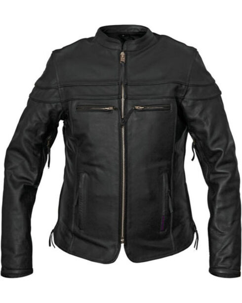 Interstate Leather Women's Moxie Leather Motorcycle Jacket, Black, hi-res