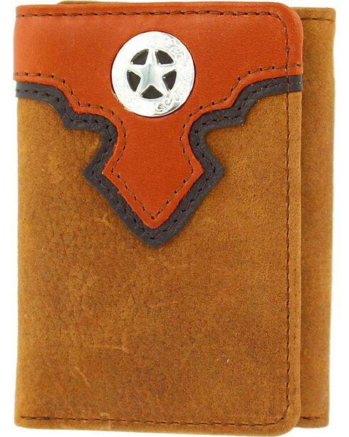 Nocona Overlay & Star Concho Tri-fold Wallet, Copper, hi-res