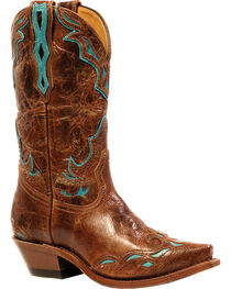 Boulet Puma Madera West Turqueza Inlay Cowgirl Boots - Snip Toe, Brown, hi-res