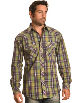 Crazy Cowboy Men's Plaid Western Snap Shirt  , Multi, hi-res