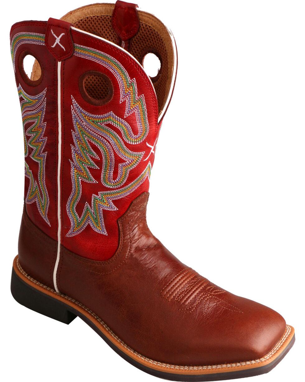 Twisted X Men's Burgundy Top Hand Cowboy Boots - Square Toe, , hi-res