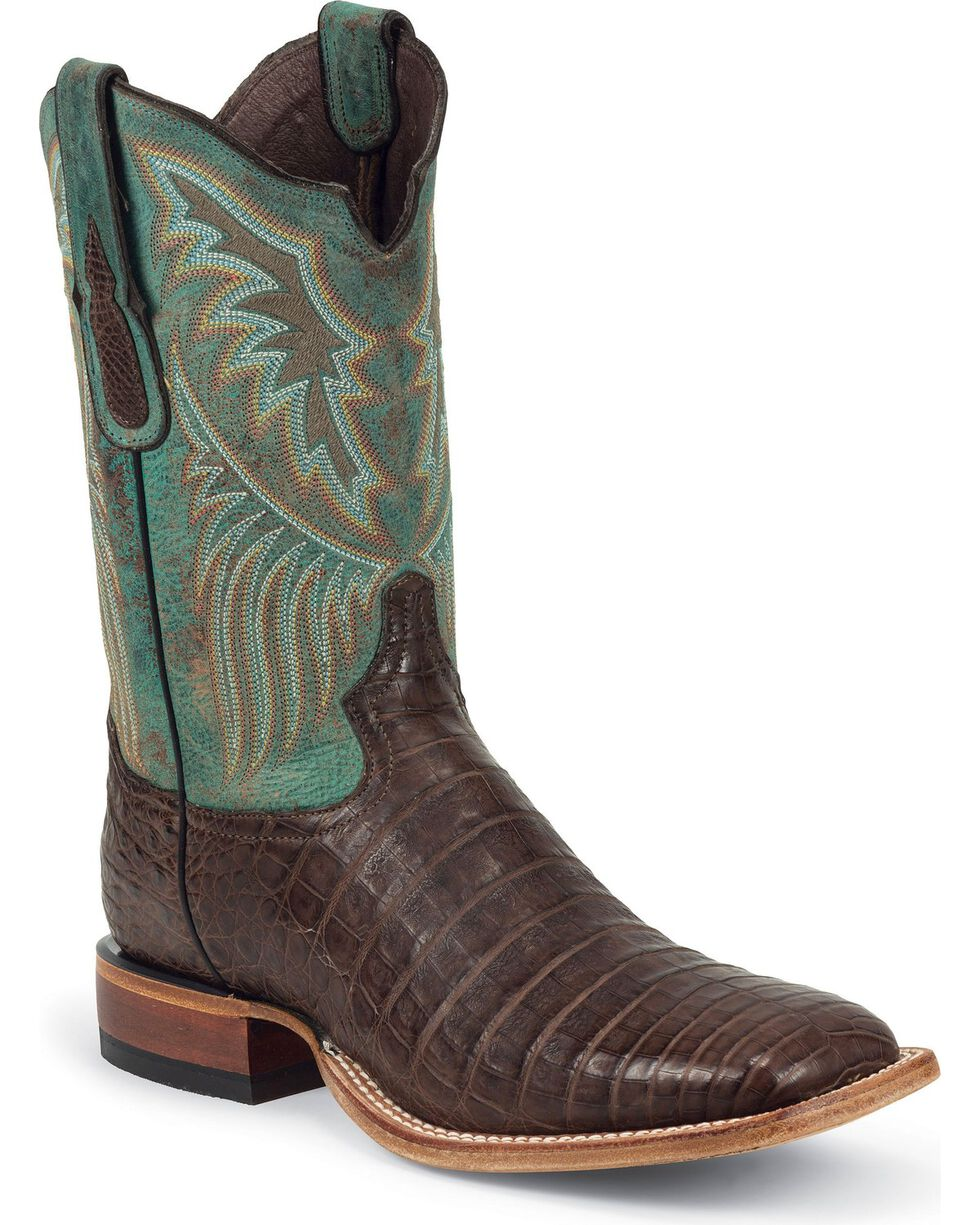 Tony Lama Men's Caiman Belly Western Boots, Chocolate, hi-res