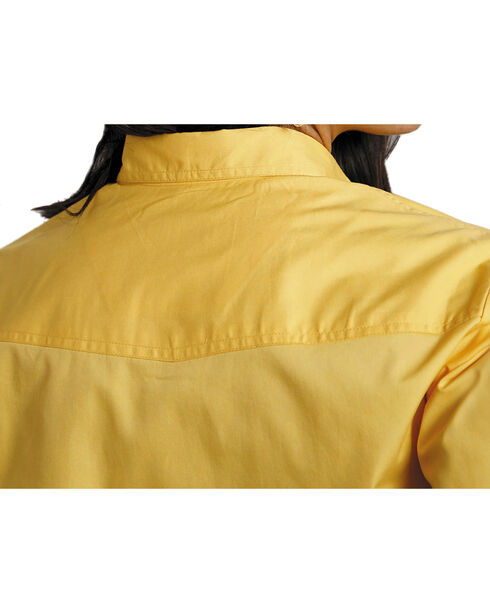 Roper Women's Amarillo Solid Pearl Snap Western Shirt, Yellow, hi-res