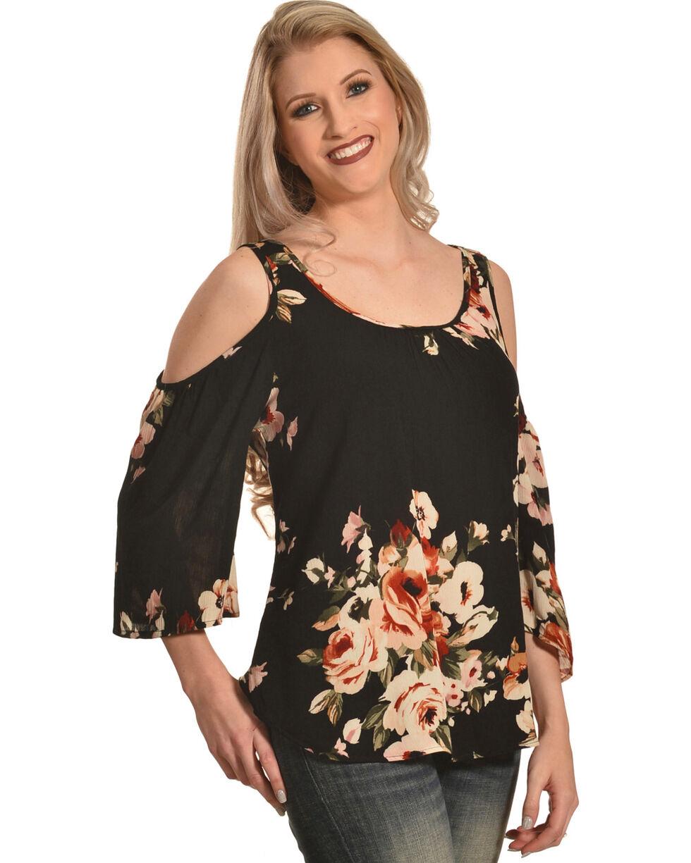 Ivory Love Women's Black Floral Cold Shoulder Blouse , Black, hi-res