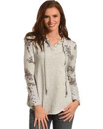 Jolt Women's Grey Lace Up Hoodie , , hi-res