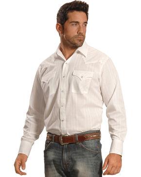 Ely Cattleman Men's White Windowpane Snap Western Shirt , White, hi-res