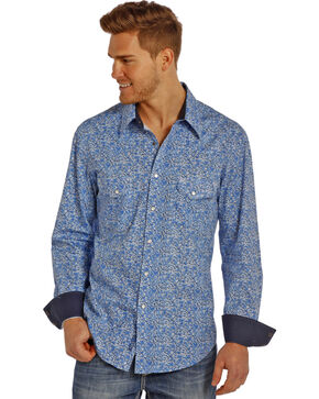 Rock & Roll Cowboy Men's Printed Long Sleeve Shirt, Blue, hi-res