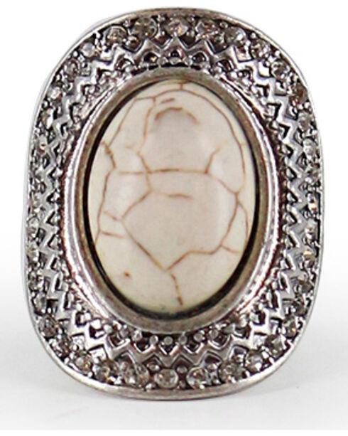 Shyanne® Women's Large Gemstone Stretch Ring, Silver, hi-res