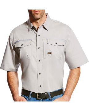 Ariat Men's Rebar Short Sleeve Work Shirt - Big & Tall, Grey, hi-res