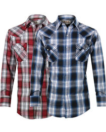 Ely Cattleman Men's Assorted Sawtooth Plaid Long Sleeve Shirt, , hi-res