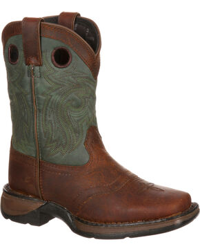 Lil' Durango Youth Saddle Western Boots, Dark Brown, hi-res