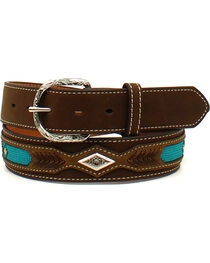 Nocona Men's Leather Ribbon Overlay Western Belt , , hi-res