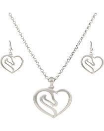 Montana Silversmiths Equestrian Heart Jewelry Set, , hi-res